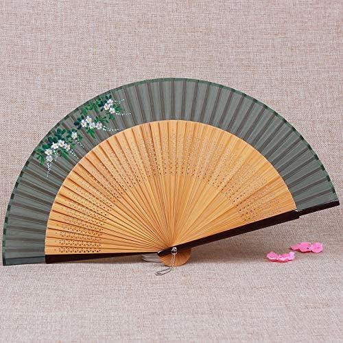 XIAOHAIZI Ventilateur Pliant,Fan De Bambou Vert De Style /Ét/é Femmes Chinois Creux Plante Fleur Papillon Vintage Ventilateur Pliant Convient pour Mariage Dame Cadeau Danse Fan M/étro Pliant Ventilateur