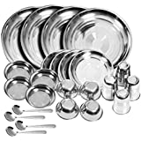 Royal Sapphire Stainless Steel Dinner Set of 24 Pieces (Glass, Curry Bowl, Desert Bowl, Spoon, Quarter Plate and Full…