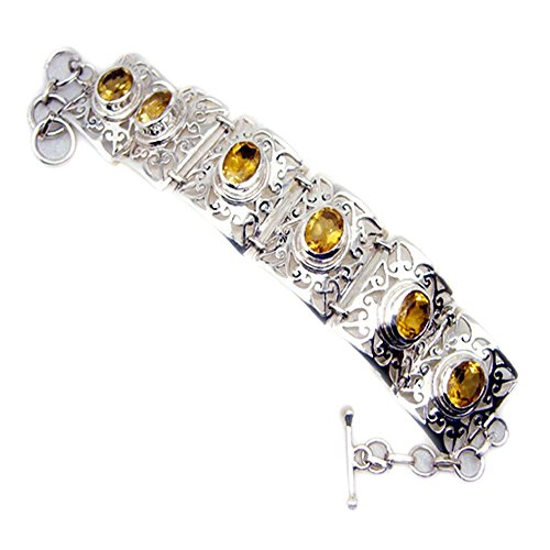 Genuine Citrine Sterling Silver Bracelet For Women Bangle Toggle Clasps November Birthstone L 6.5-8 Inch by 55Carat