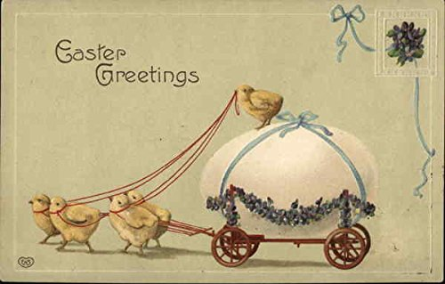 Easter Greetings - Chicks Pulling Cart Carrying Large Egg With Chicks Original Vintage Postcard ()