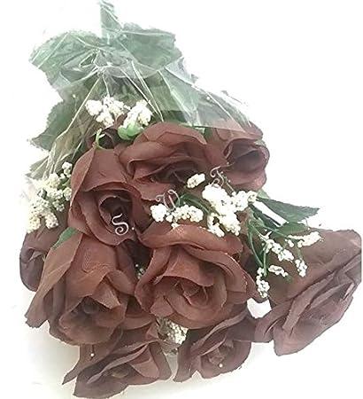 Amazon 19 Rose Bud Bush Artificial Silk Wedding Craft Flowers