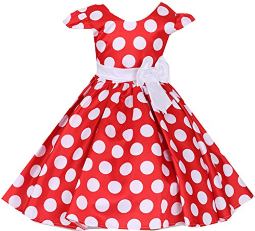 (Shiny Toddler Little Girls Polka Dot Flowers Girl brithday Party Dress Red 12-18M)
