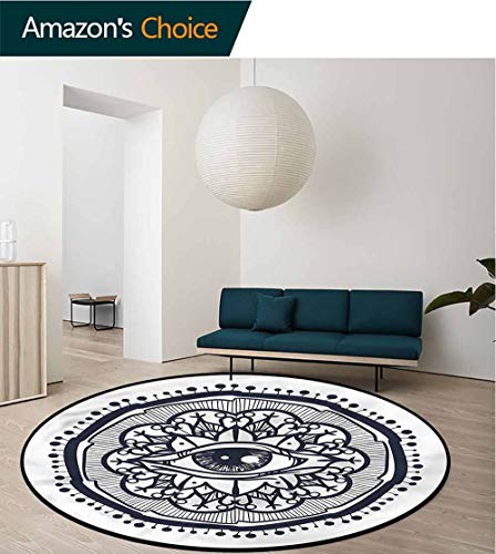 Occult Machine Washable Round Bath Mat,Retro All Seeing Eye Art for Home Decor Bedroom Kitchen Etc Round-55