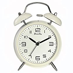 DreamSky Battery Analogy Alarm Clock with Backlight, Non Ticking & Silent,3D Number Display, Loud Alarms for Heavy Sleeper, Vintage Twin Bell Clock for Bedrooms (White)