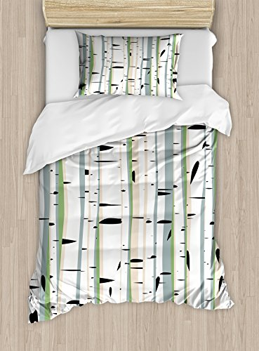 Ambesonne Forest Duvet Cover Set Twin Size, Dense Tree Formation Birch Trunks Abstract Grove Botanical Countryside Backwoods, Decorative 2 Piece Bedding Set with 1 Pillow Sham, Multicolor