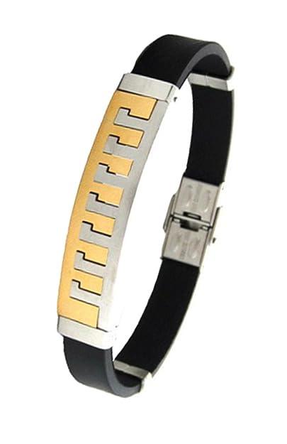 The Jewelbox Stainless Steel Rubber Matt Finish Bracelet for Men Gift Christmas Gift Bracelets & Kadas at amazon