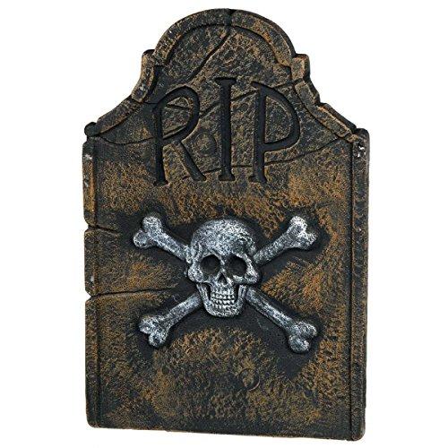 Amscan Creepy Cemetery Halloween Party Skull & Crossbones Tombstone (1 Piece), Black, (Rip Tombstone Halloween)