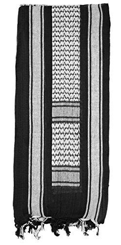 (Mato & Hash Military Shemagh Tactical 100% Cotton Scarf Head Wrap - Black/White CA2100JUMBO)