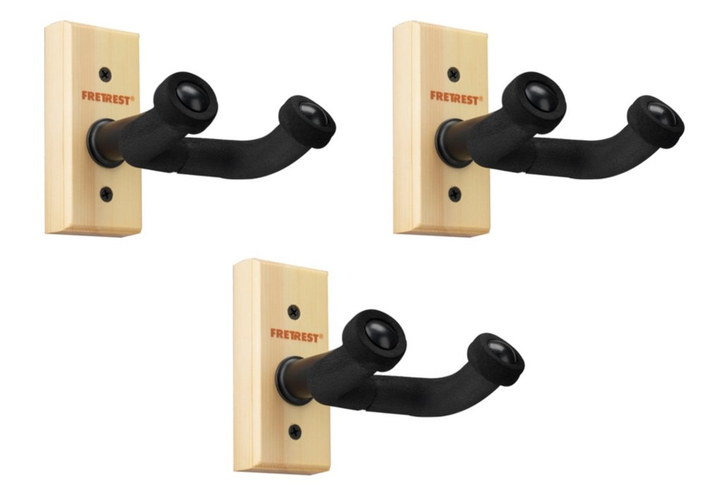 FretRest by Proline GH1 Guitar Wall Hanger 3-Pack (Wood Finish)