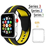 Threenine for Apple Watch Band, Durable Soft Silicone iWatch Strap Replacement Sport Band for Apple Watch Band Series 3 Series 2 Series 1 Sport, Edition (Black yellow, 42mm M/L)