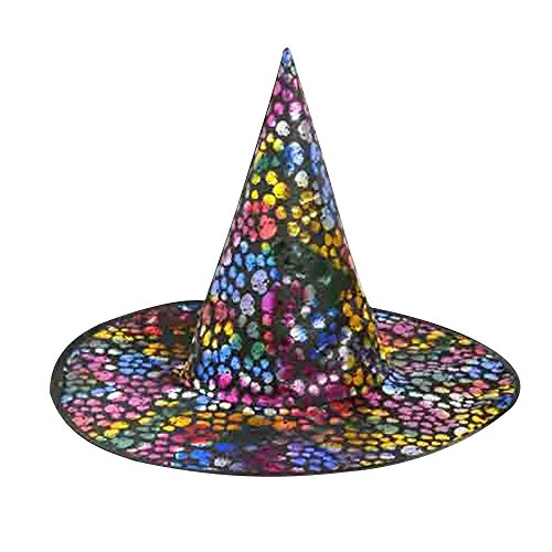 [Scream Machine Skull Print Halloween Witch Hat (One Size) (Multicolored)] (Official Scream Costumes)