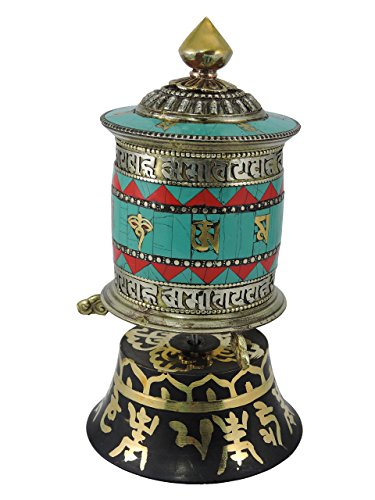 Tibetan Hand Crafted Brass Turquoise Coral Table Top Prayer Wheel with Om Mani