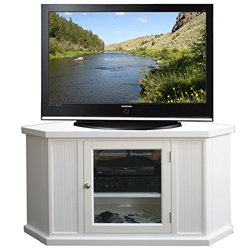Corner TV Stand - Contemporary Entertainment Center For TVs Up to 43'' - Classic Design and Media Storage Cabinets (Off White Media Cabinet)