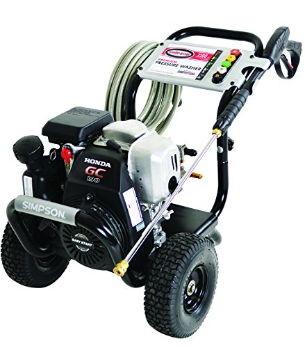 Off-white pressure washer with wheels.
