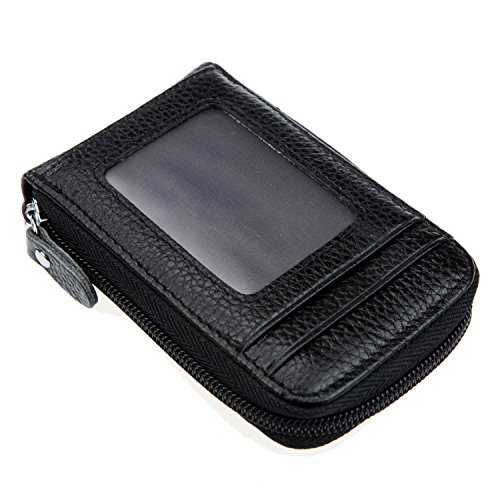 Wallet Zippered Genuine Leather (DKER Genuine Leather Mini Credit Card Case Organizer Compact Wallet with ID Window - Black)