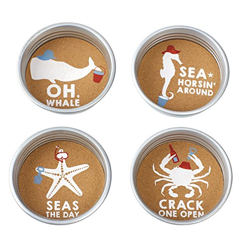 Mud Pie Sea Mason Jar Coasters (Set of 4), Silver