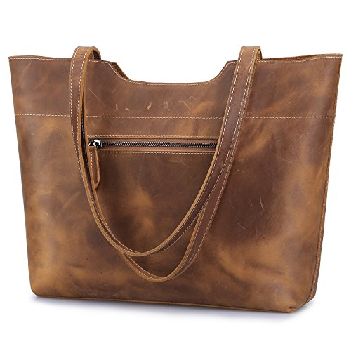 - S-ZONE Vintage Genuine Crazy Horse Leather Large Tote Shoulder Bag Purse with Back Zipper Pocket (Light Brown)