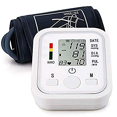 Automatic Arm Blood Pressure Monitor Voice Broadcast High Blood Pressure Monitors Portable LCD Screen Irregular Heartbeat Monitor with Adjustable Cuff and Storage Bag Powered by Battery -White