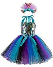 IMEKIS Kid Meisjes Zeemeermin Regenboog Tutu Jurk Prinses Kleine Ariel Zeemeermin Kostuum Fancy Kerst Carnaval Cosplay Dress Up Verjaardag Party Outfit
