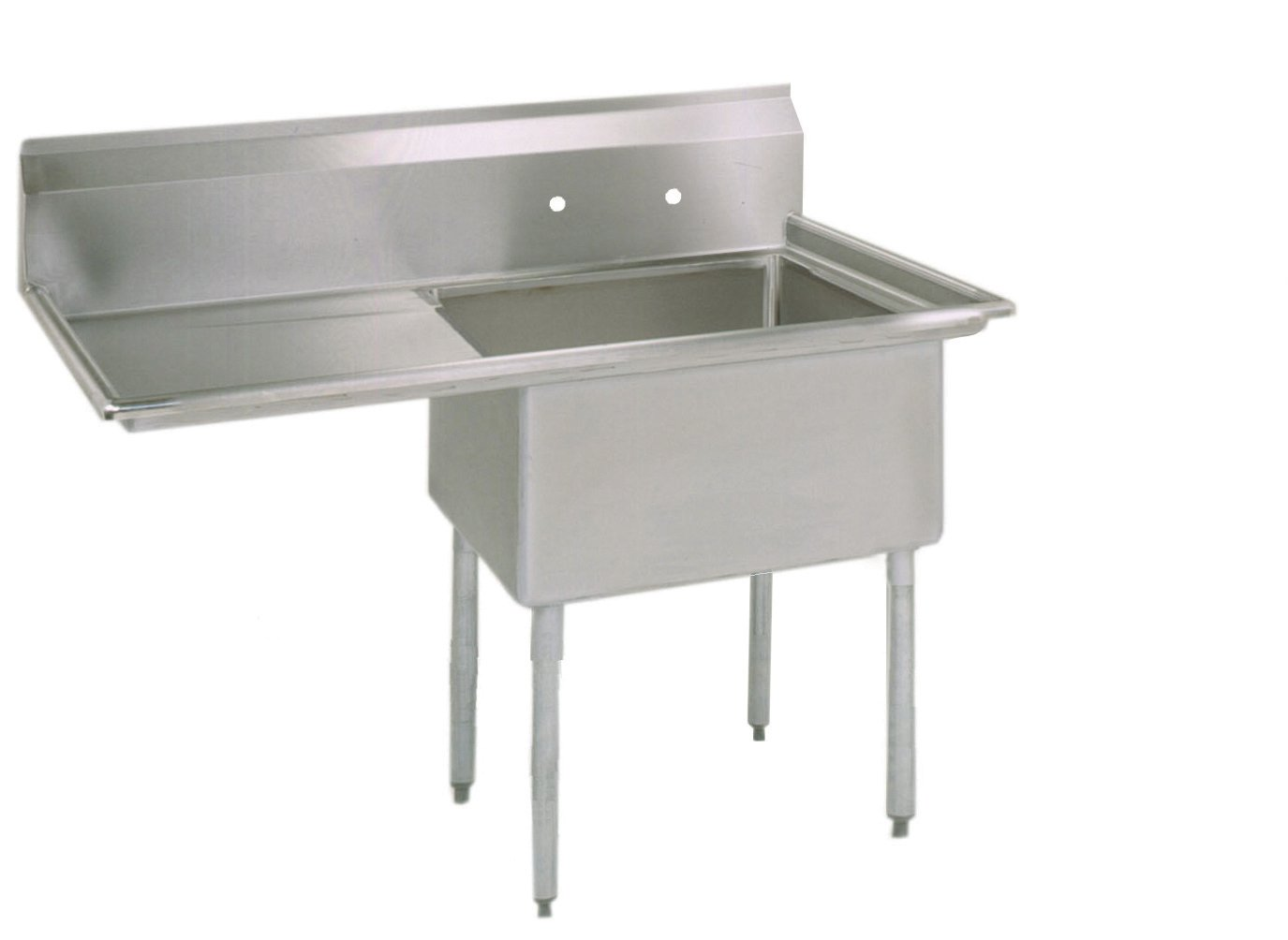 BK Resources Stainless Steel 1 Compartment Sink with Left Hand Drainboard, 38''W x 23-13/16''D