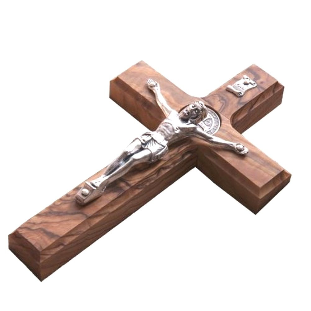 10'' Wall Wood Cross St. Saint Benedict & Medal Holy Land Handmade Silver Plated Crucifix