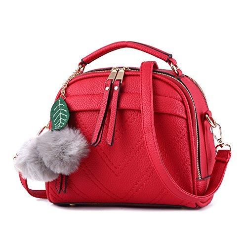 Sac à Main Pour Femmes Vintage PU Cuir Élégant Pure Couleur Sacs Bandoulière Épaule/Sacs portés épaule Noir Rouge
