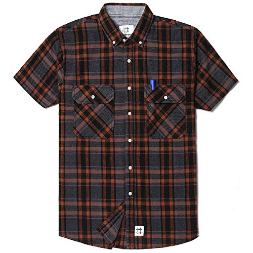 Men's Short Sleeve Plaid Checkered Button Down Casual Shirts Brown & Grey Small