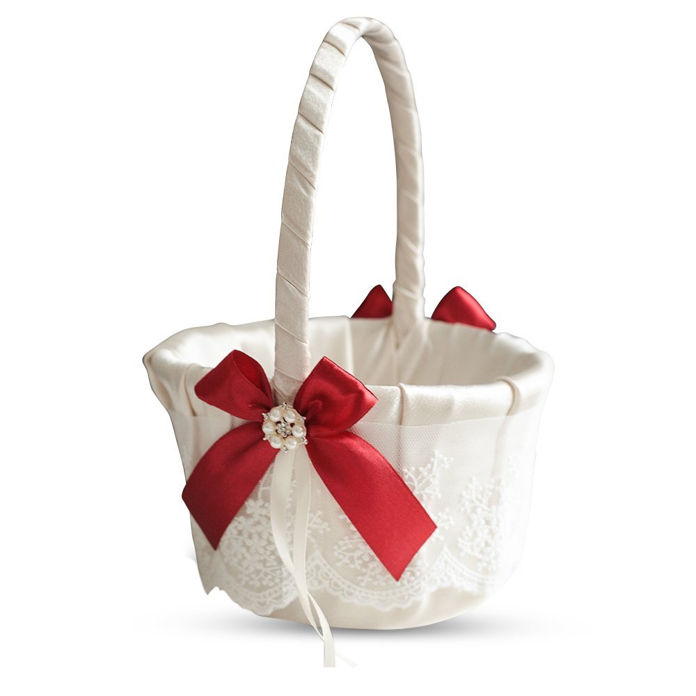 Roman Store Ivory Ring Bearer Pillow and Basket Set | Lace Collection | Flower Girl & Welcome Basket for Guest | Handmade Wedding Baskets & Pillows (Scarlet RED) by Roman Store (Image #1)