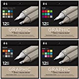 Spectrum Noir - Art + Craft Alcohol Marker Pen Graphic Nib Set - Full System (48pk)