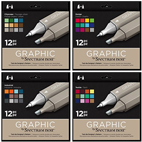 Spectrum Noir - Art + Craft Alcohol Marker Pen Graphic Nib Set - Full System (48pk) by Spectrum Noir