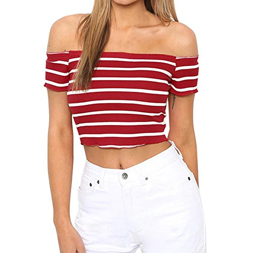 cce0e53a25 Women Shirts Fashion Sexy Casual Off Shoulder Stripe Short Sleeve Blouse  Tunic Teen Girls Sweatshirt Pullover