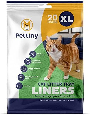 Pettiny 20 XL Katzentoilettenbeutel mit Zugbändern Kratzfeste Tüten für Extra Großes Katzenklo