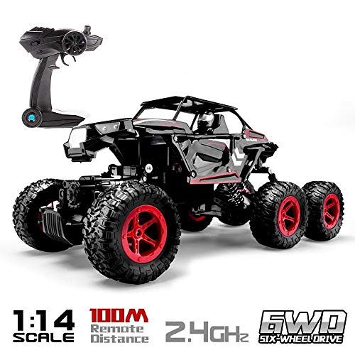Blexy 6WD RC Cars, 1/14 Scale 2.4Ghz High Speed Electric Remote Control Off-Road Climbing Truck, R C Rock Crawler, All-Terrain RTR Buggy Black, Red ()