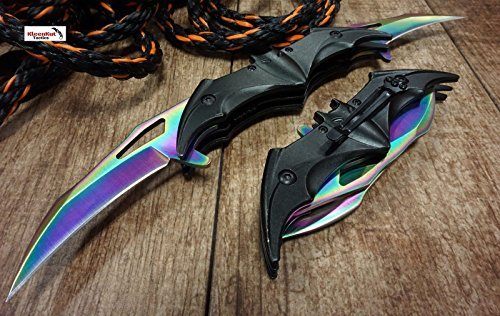 Twin Blade Lock Knife - NEW! Batman Dark Knight Bat Spring Assisted Open Folding Double Blade Dual Twin 3 Colors Pocket Knife Tactical Belt Clip Black Gold Rainbow Knives Great Gift (Rainbow)