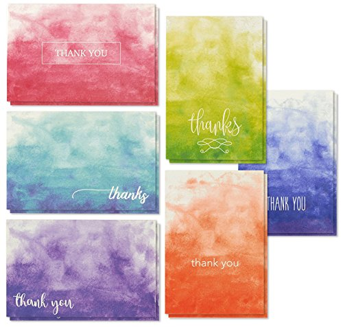 Thank You Cards - 48-Count Thank You Notes, Bulk Thank You Cards Set - Blank on the Inside, 6 Ombre Watercolor Designs - Includes Thank You Cards and Envelopes, 4 x 6 Inches