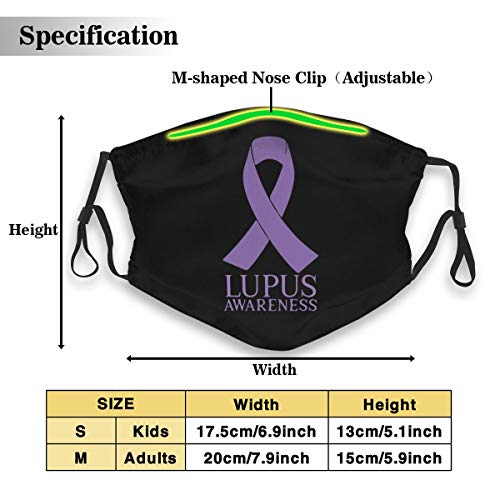 Lupus Awareness Unisex Anti-Pollution Mask Dust Mask with Filter Mask Black