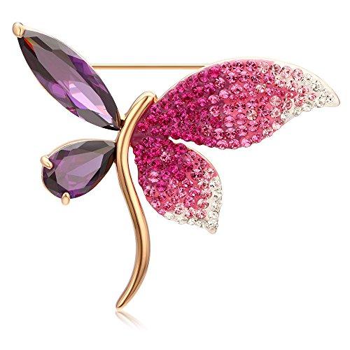 Kemstone Ombre Amethyst Crystal Dragonfly Brooch Rose Gold Plated Animal Brooch Pin