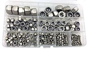 HVAZI 205pcs Metric M2.5 M3 M4 M5 M6 M8 M10 M12 Stainless Steel Nylon Hex Lock Nut Assortment Kit