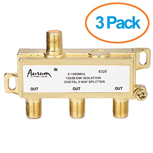 UPC 889907010318, Aurum Cables 3-way 1ghz High Performance Digital Coax Cable Splitter - Frequency Range 5-1000 Mhz 3-pack