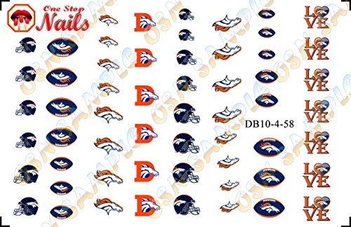 Denver Broncos Waterslide Nail Decals V4 (Set of 58) -