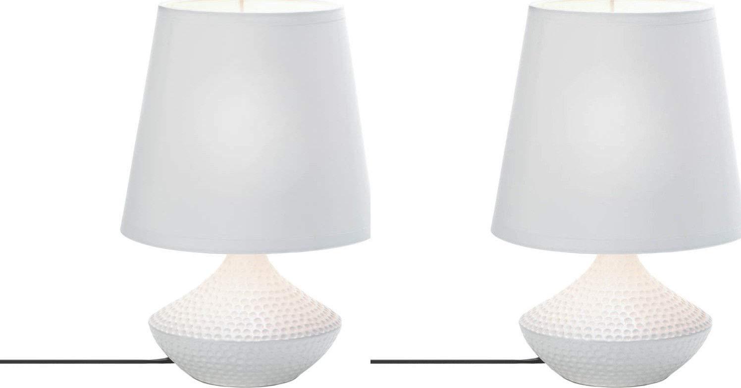 ROX Luxury House (2) Pebble Beach Table Lamp Dimpled Ceramic Base White Fabric Shade Modern Decor