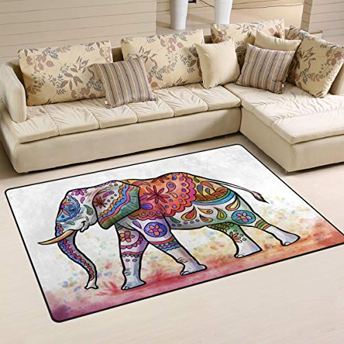DEYYA Custom Animal Non-Slip Area Rugs Pad Cover 31 x 20 Inch, Watercolor Indian Elephant Pattern Throw Rugs Carpet Modern Carpet for Home Dining Room Playroom Living Room ()