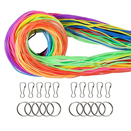 Coobey 140 Pieces Scoubidou Strings Plastic Lacing Cord with Snap Clip Hooks and Keychain Ring Clips for Jewelry Making DIY Craft Gimp String, 394-Feet,12 Colors by Coobey