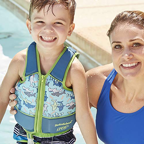 SwimSchool Swim Trainer Vest,  Adjustable Safety Strap, Easy On and Off,  Small/Medium, Up to 55 lbs.,  Blue