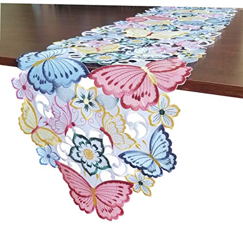 - GRANDDECO Embroidered Butterfly Table Runner,Applique Floral Butterfly Cutwork Embroidered Table Linen, Home Kitchen Dining Tabletop Decoration, Runner 13