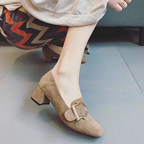 Mujeres Los Partido EUR35 Zapatos Grueso con un Cuadrada Calzado Cuadrada Sienten cm de con Todos gris Hebilla Solo Cabeza la 8HHT6xqB
