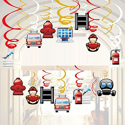 - RainPeach 30Ct Firefighter Hanging Swirl Decorations Fireman Party Dangling Swirls Kids Boy Girl Birthday Baby Shower Party Decoration