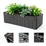 C-Hopetree Wicker Hanging Railing Planter Box, Indoor Outdoor Window Wall Balcony Deck Porch Flower Herb Plant Pot, 1 Long Pot