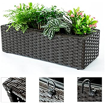 Beautiful C Hopetree Window Flower Box Hanging Balcony Indoor Outdoor Planter Brown  Woven, Rectangle Plant