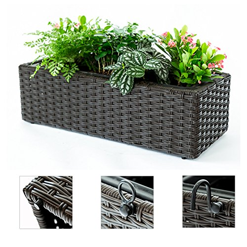 C-Hopetree Hanging Balcony Planter Indoor Outdoor Potted Plant Window Box Herb Garden Seedling Container Rectangular Plastic Pot Holder ()